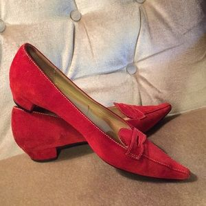 J.Crew red suede flats